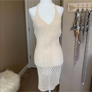 LF cream knit halter dress
